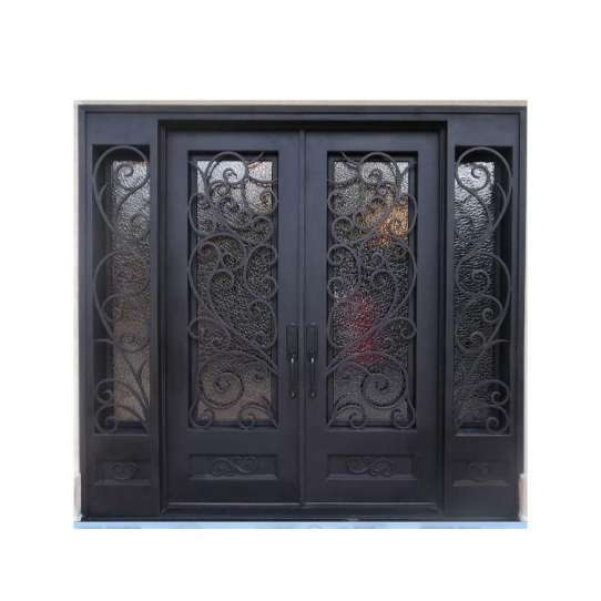 WDMA Iron Fire Proof Metal Frame Wrought Iron And Aluminium Steel Flush Glass Interior Entry Door