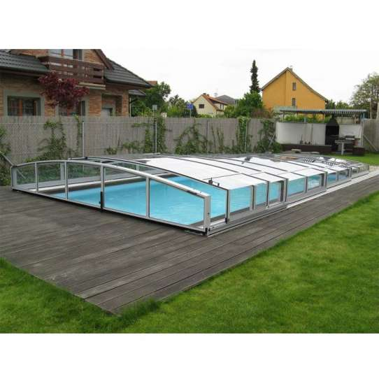 China WDMA Large Safety Pool Enclosures Wind Resistance And Snow Resistance Aluminum Pool Glass Cover