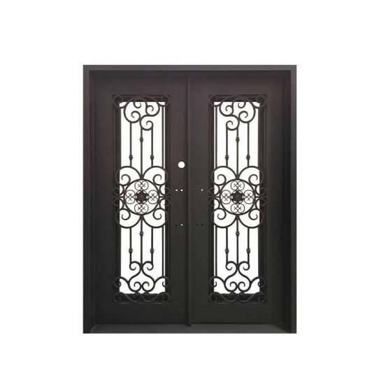 WDMA wrought iron doors with glass