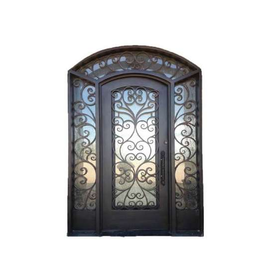 WDMA wrought iron doors with glass iron entry door double