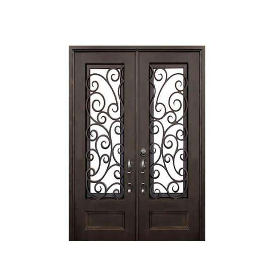 China WDMA Luxurious Antique Garden Entrance Wrought Iron Door With Glass Models For Home Use