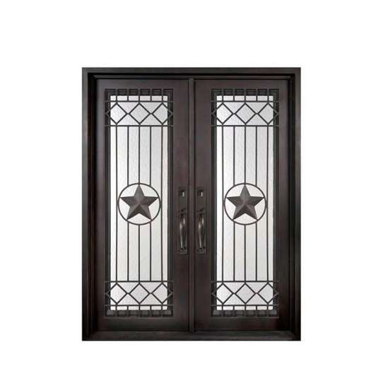 China WDMA wrought iron doors with glass iron entry door double