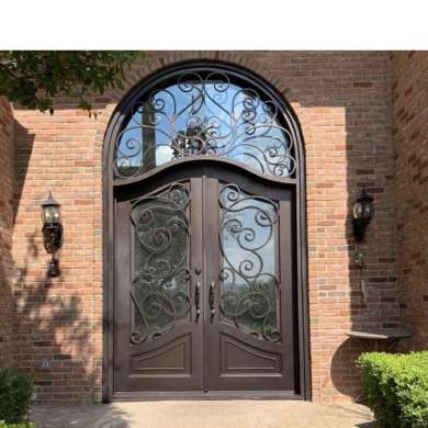 WDMA Luxury Arch Design Rustic Wrought Cast Iron Glass Entrance Door Gate For Garage