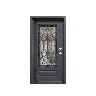 WDMA Made In China Modern Outdoor Cheaper Price Wrought Iron Single Entry Door Design For Villa