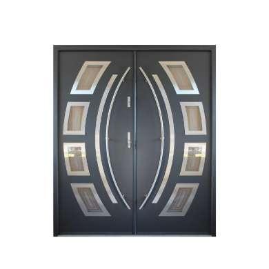 WDMA Modern Main Metal Front Door Iron Doors Double Entrance Design