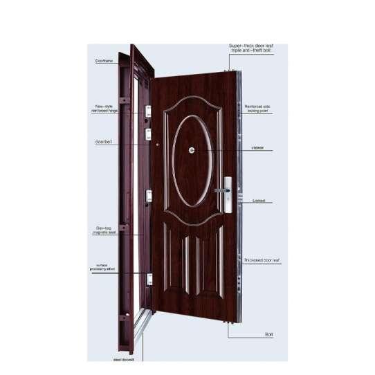 China WDMA Modern Main Metal Front Door Iron Doors Double Entrance Design