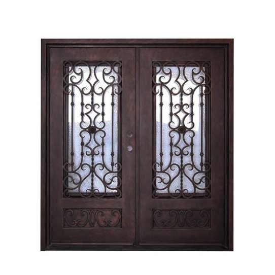 WDMA iron door with net wrought iron french doors