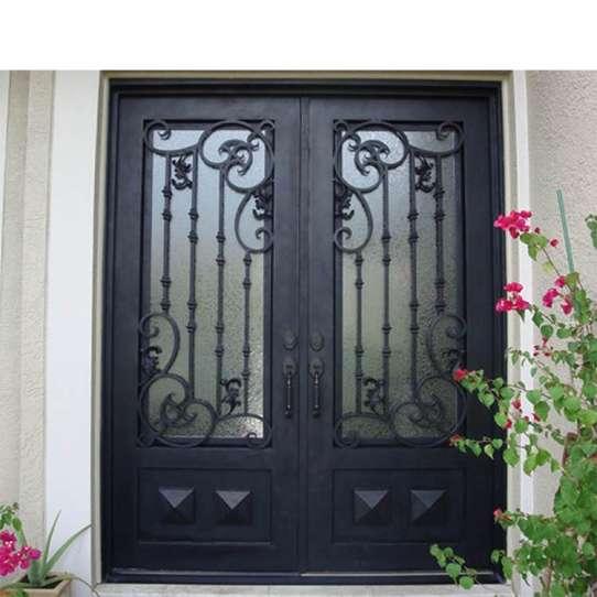 China WDMA iron door with net wrought iron french doors