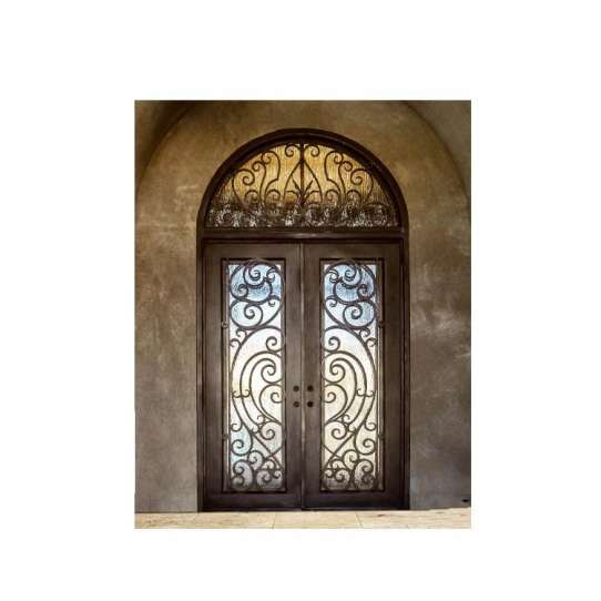 WDMA Nigeria Exterior Outdoor Wrought Front Iron Security Grill Door And Windows Design