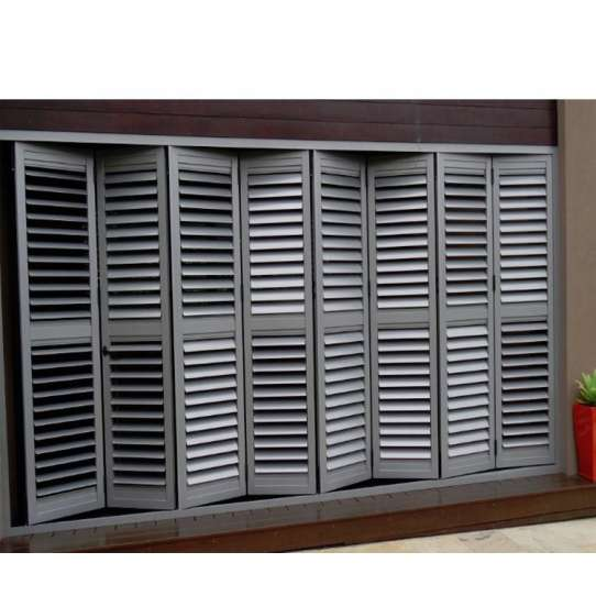 China WDMA Outdoor Fireproof Brown Aluminium Window And Door Louver Shutter System