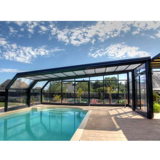 WDMA Outdoor Glass Sunroom With Retractable Swimming Pool Glass Cover Enclosures Roof For Sale