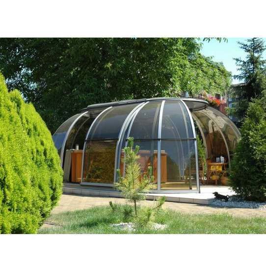 WDMA Glass Sunroom With Retractable Roof For Sale
