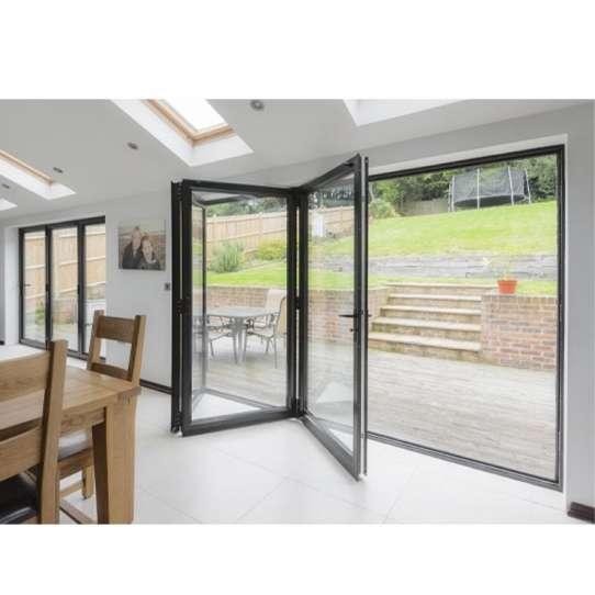 China WDMA Portable Glass Accordion Bi Folding Glass Window Door Aluminum Room Dividers