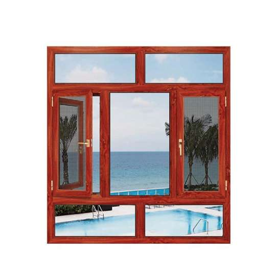 China WDMA Powder Coated Frame Finishing Aluminum Clad Wood Texture Window Door With Blue Color Glass