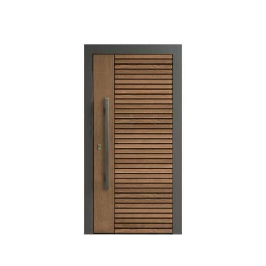 WDMA Residential Custom Mahogany Modern Double Leaf Entry Pivot Door