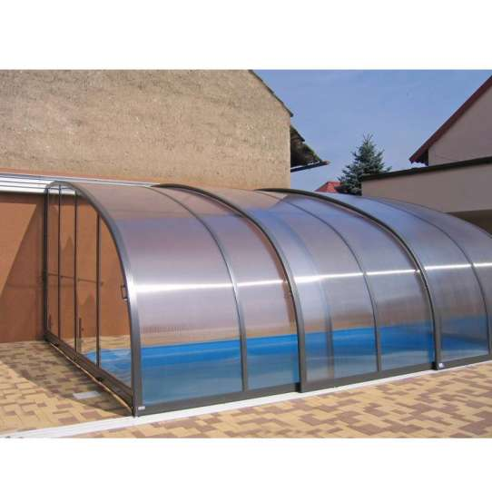 China WDMA Retractable Curved Sunroom For Swimming Pool Dome Cover Polycarbonate