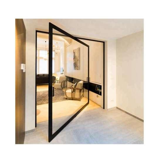 China WDMA Sandblasting Aluminium Tempered Mall Glass Single Leaf Pivot Door For Front Meeting Room Pakistan