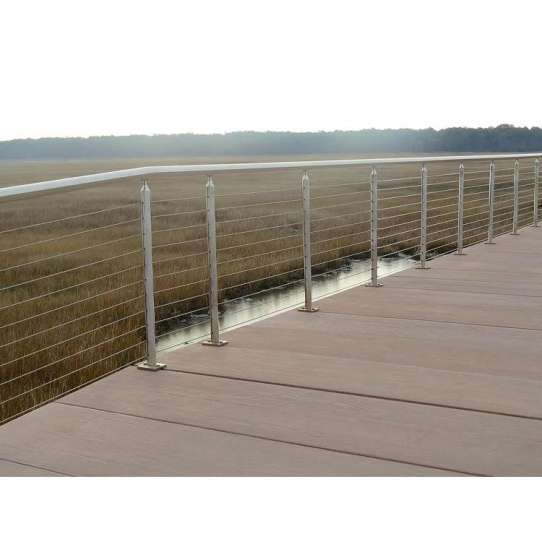 China WDMA Side Mounted Galvanized Stainless Steel Stair Balcony Cable Railing Wire Rope Railing Balustrade Handrail System