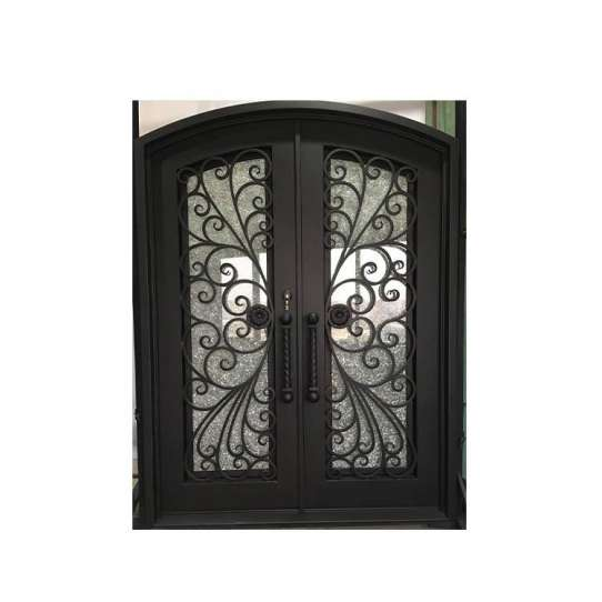 China WDMA Simple Forged Iron Front Main Gate Grey Color Wrought Iron Door Grill Design