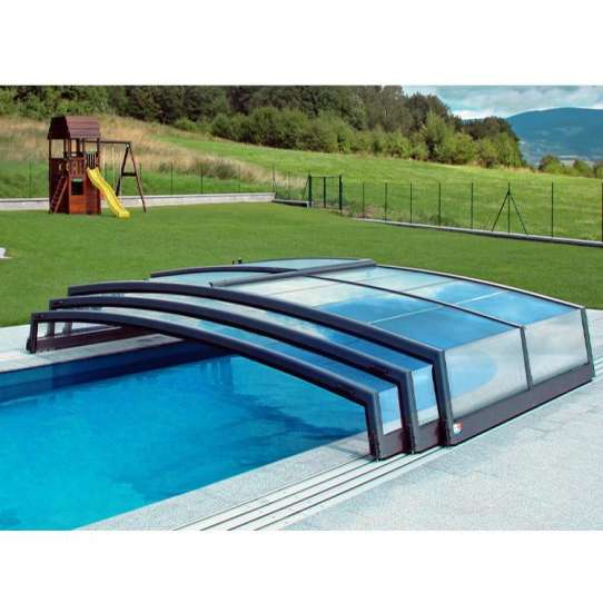 WDMA Snow Resistance Aluminium Frame Polycarbonate Swimming Pool Enclosures Retractable Roof Systems