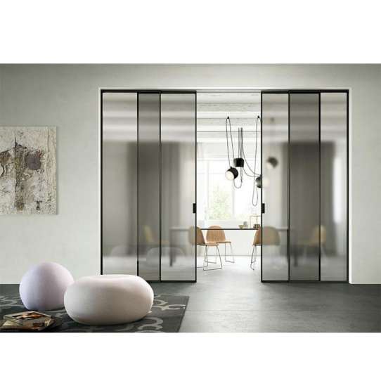 WDMA Soft Close Interior Office Aluminium Double Glass Sliding Door
