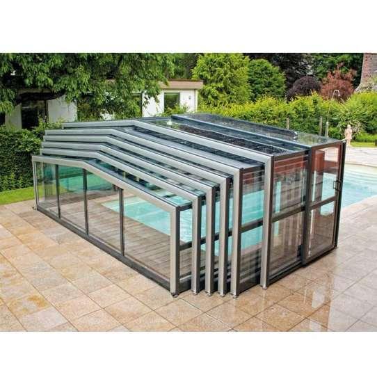 WDMA Telescopic Pool Enclosures Aluminum Retractable Pergola Roof Awning