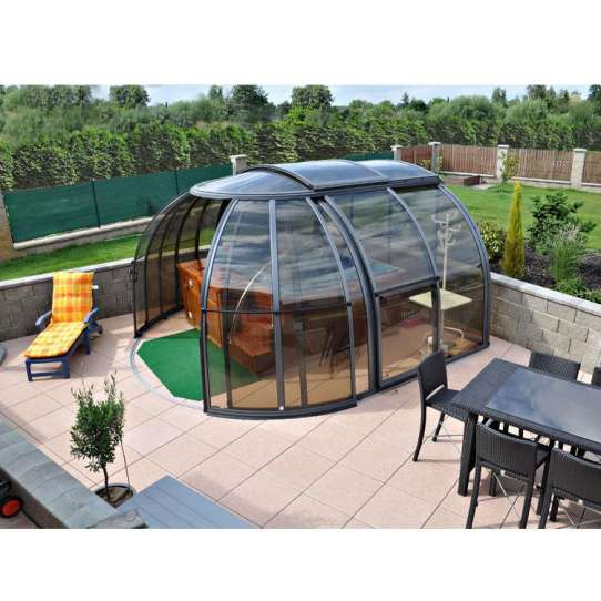 China WDMA Wholesale Waterproof Retractable Roof Glass Telescopic Swimming Pool Cover Pool Enclosures