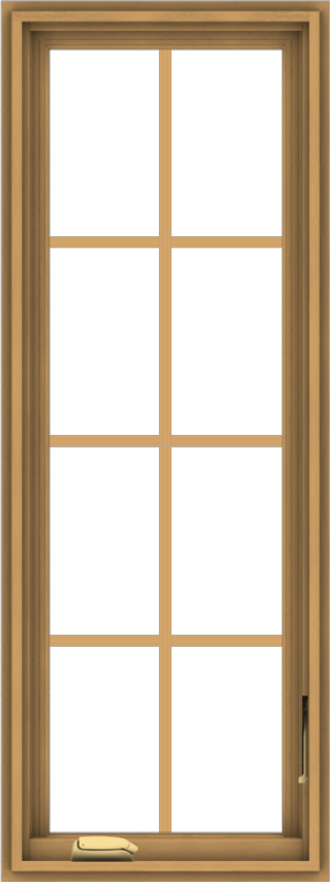 WDMA 18x48 (17.5 x 47.5 inch) Pine Wood Dark Grey Aluminum Crank out Casement Window with Colonial Grids