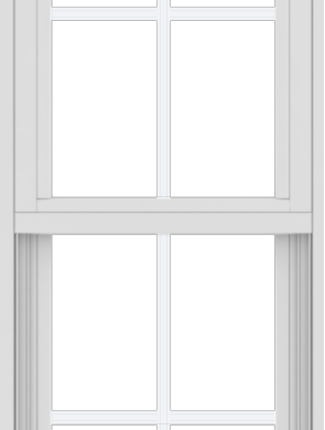 WDMA 18x48 (17.5 x 47.5 inch) Vinyl uPVC White Single Hung Double Hung Window with Colonial Grids Exterior