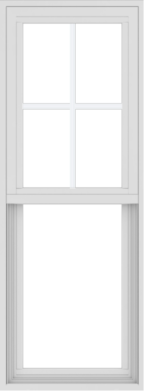 WDMA 18x48 (17.5 x 47.5 inch) Vinyl uPVC White Single Hung Double Hung Window with Top Colonial Grids Exterior