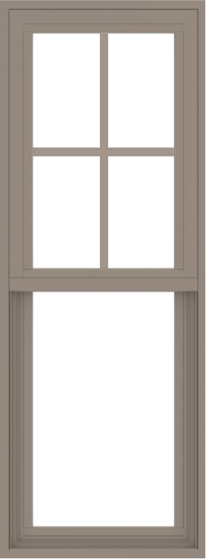 WDMA 18x48 (17.5 x 47.5 inch) Vinyl uPVC Brown Single Hung Double Hung Window with Top Colonial Grids Exterior
