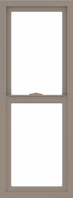 WDMA 18x48 (17.5 x 47.5 inch) Vinyl uPVC Brown Single Hung Double Hung Window without Grids Interior