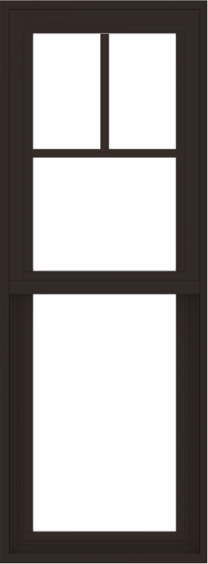 WDMA 18x48 (17.5 x 47.5 inch) Vinyl uPVC Dark Brown Single Hung Double Hung Window with Fractional Grids Interior