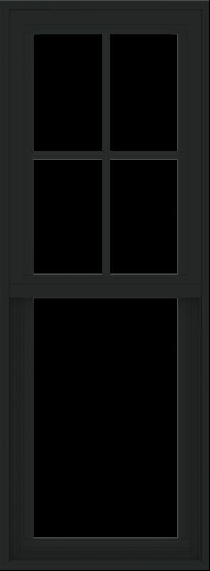 WDMA 18x48 (17.5 x 47.5 inch) Vinyl uPVC Black Single Hung Double Hung Window with Prairie Grids Interior