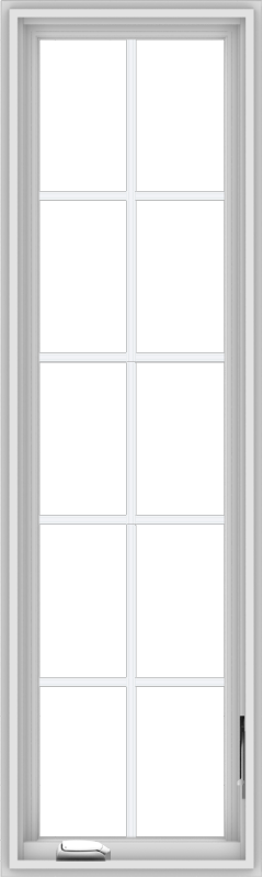 WDMA 18x60 (17.5 x 59.5 inch) White Vinyl uPVC Crank out Casement Window with Colonial Grids