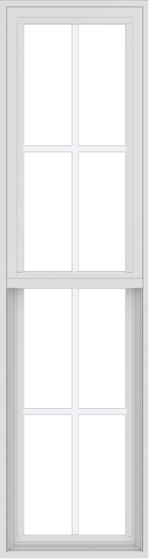 WDMA 18x66 (17.5 x 65.5 inch) Vinyl uPVC White Single Hung Double Hung Window with Colonial Grids Exterior