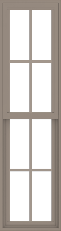 WDMA 18x66 (17.5 x 65.5 inch) Vinyl uPVC Brown Single Hung Double Hung Window with Colonial Grids Exterior