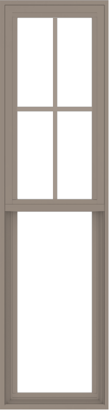 WDMA 18x66 (17.5 x 65.5 inch) Vinyl uPVC Brown Single Hung Double Hung Window with Top Colonial Grids Exterior