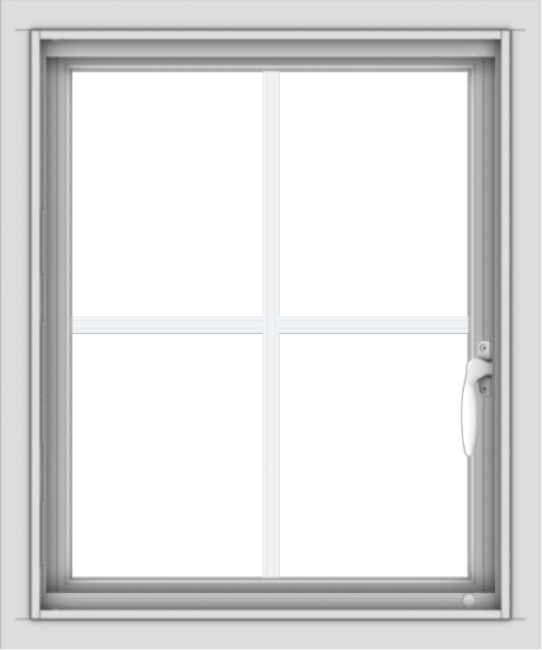 WDMA 20x24 (19.5 x 23.5 inch) Vinyl uPVC White Push out Casement Window with Colonial Grids