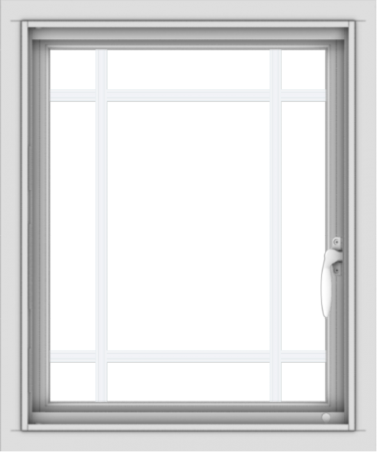 WDMA 20x24 (19.5 x 23.5 inch) Vinyl uPVC White Push out Casement Window with Prairie Grilles