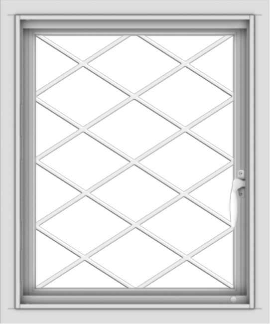 WDMA 20x24 (19.5 x 23.5 inch) Vinyl uPVC White Push out Casement Window without Grids with Diamond Grills