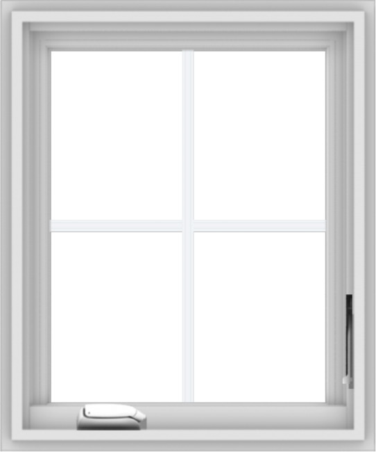 WDMA 20x24 (19.5 x 23.5 inch) White Vinyl uPVC Crank out Casement Window with Colonial Grids