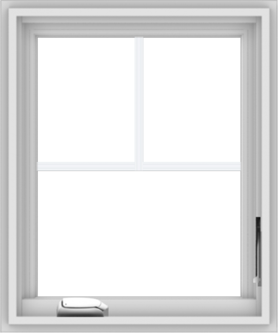 WDMA 20x24 (19.5 x 23.5 inch) White Vinyl uPVC Crank out Casement Window with Fractional Grilles