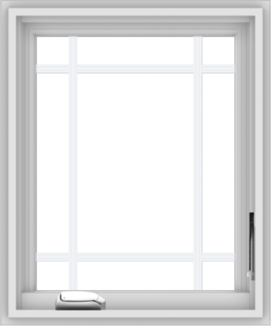 WDMA 20x24 (19.5 x 23.5 inch) White Vinyl uPVC Crank out Casement Window with Prairie Grilles