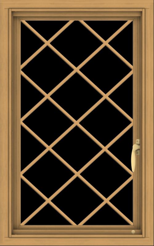 WDMA 20x32 (19.5 x 31.5 inch) Pine Wood Light Grey Aluminum Push out Casement Window  with Diamond Grills