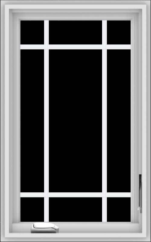 WDMA 20x32 (19.5 x 31.5 inch) White Vinyl uPVC Crank out Casement Window with Prairie Grilles