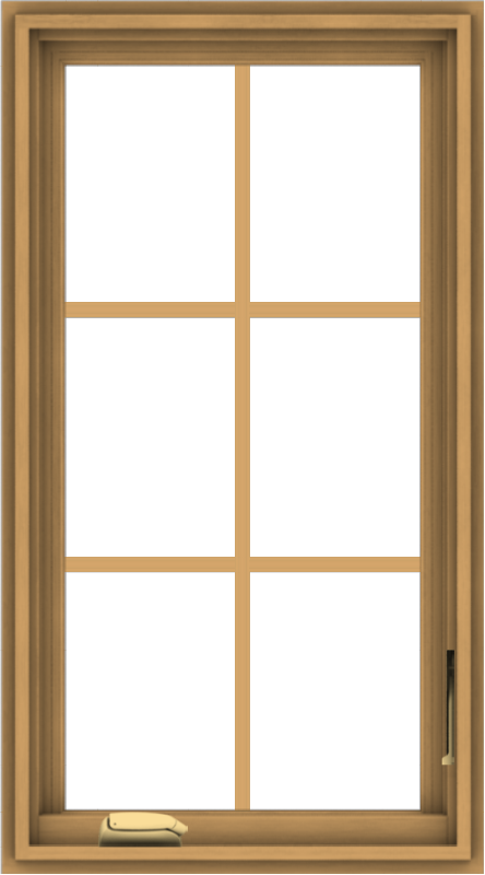 WDMA 20x36 (19.5 x 35.5 inch) Pine Wood Dark Grey Aluminum Crank out Casement Window with Colonial Grids