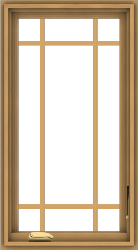 WDMA 20x36 (19.5 x 35.5 inch) Pine Wood Dark Grey Aluminum Crank out Casement Window with Prairie Grilles