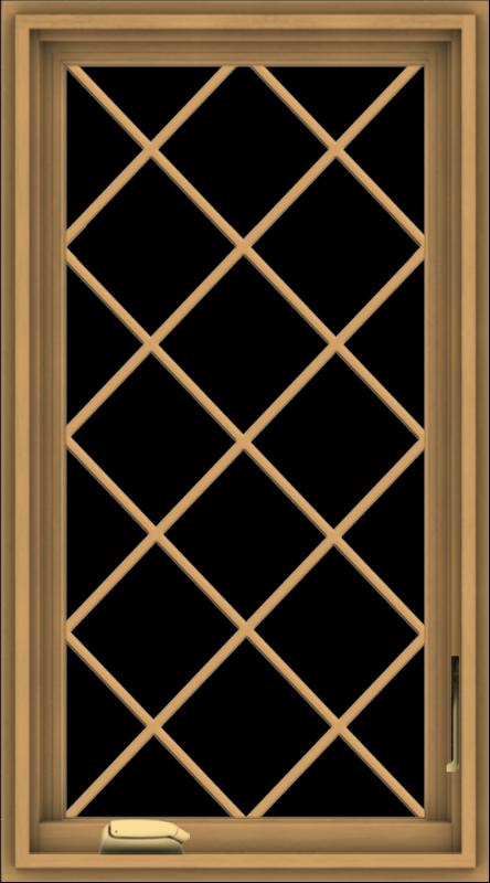 WDMA 20x36 (19.5 x 35.5 inch) Pine Wood Dark Grey Aluminum Crank out Casement Window  with Diamond Grills