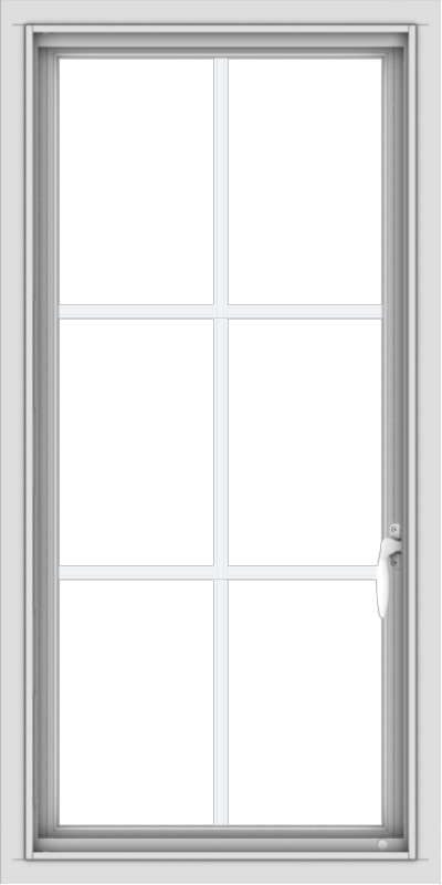 WDMA 20x40 (19.5 x 39.5 inch) Vinyl uPVC White Push out Casement Window with Colonial Grids